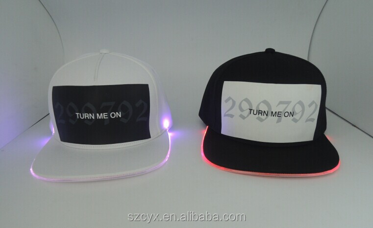 2016 NEW Fashion OEM <strong>Custom</strong> 5 panels 100% Cotton Optical Fiber LED Flat Snapback Caps and Hats With Printed Logo