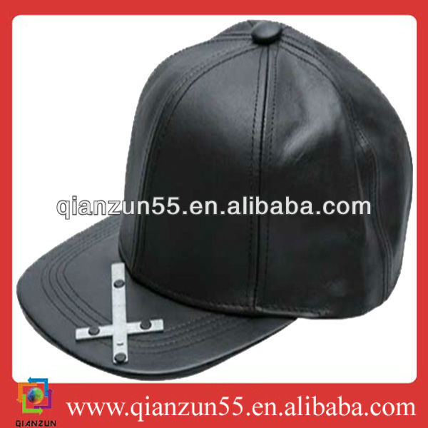 2013 new style cool 6 panel real leather fabric Camp baseball team caps Snapback with metal on brim