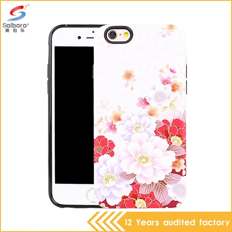 TPU PC printed phone case for iphone 5 flower