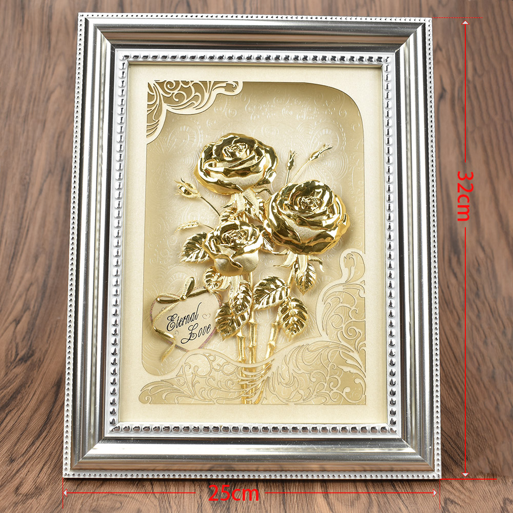 Valentines Day Gift 3D 24K Gold Plated Rose Phote Frame
