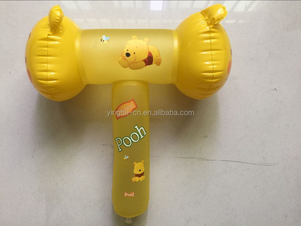 2016 hot yellow inflatable plastic hammer toy