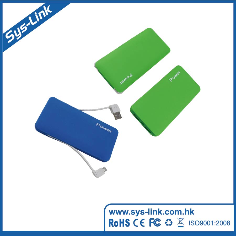 wholesale built in cable Power Bank slim 5000mAh 2016 Promotion Gift