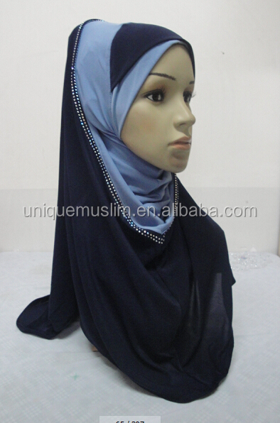 H287 new style two tone hoody shawl,fashion muslim hijab