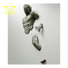 Most popular New product 3D Modern Bronze Man Statue Wall Sculpture for home decor