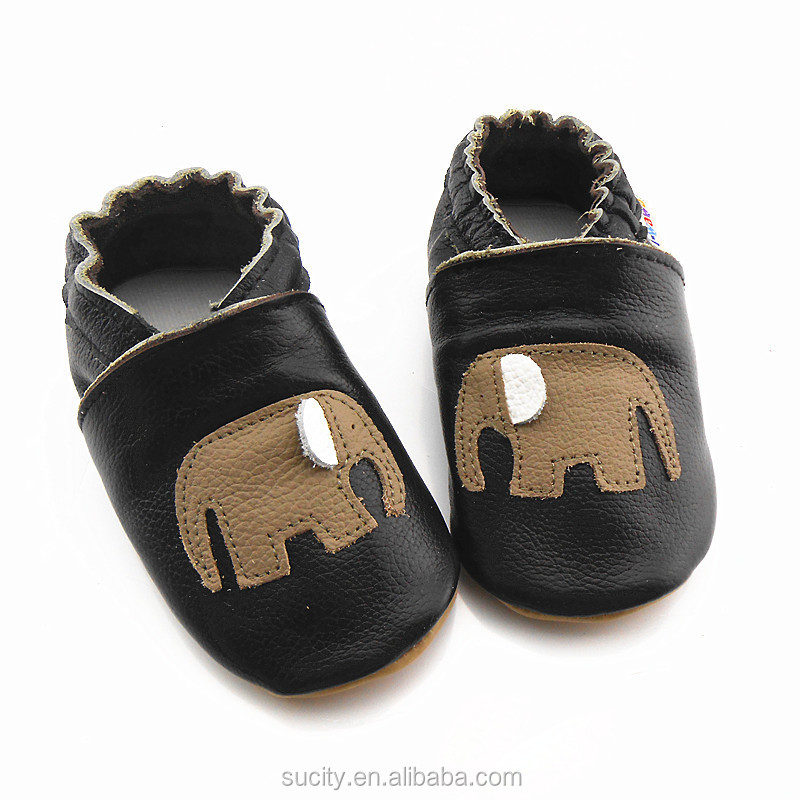 soft sole new born baby leather shoes with elephant design