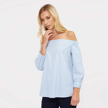 Women Blue and White Off-Shoulder Ticking Stripe Top