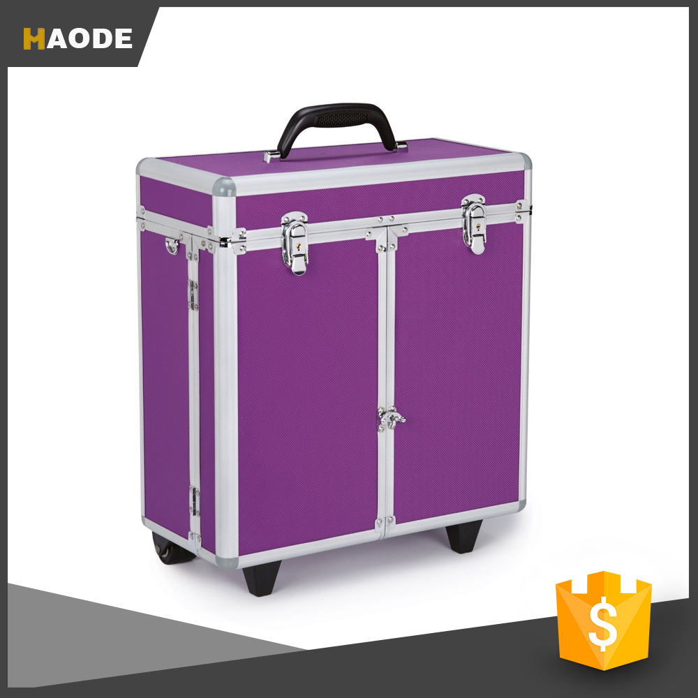 Top Performance Purple Aluminum Grooming Barber Tool Case With Wheels