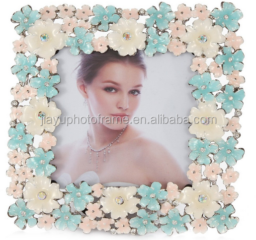 Enamel floral jeweled square picture frame