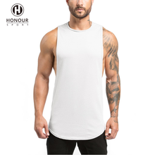 Wholesale 100% Cotton Extreme Dropped Armhole Mens Blank Gym Fitness Workout Curved Hem Scoop Tank Top