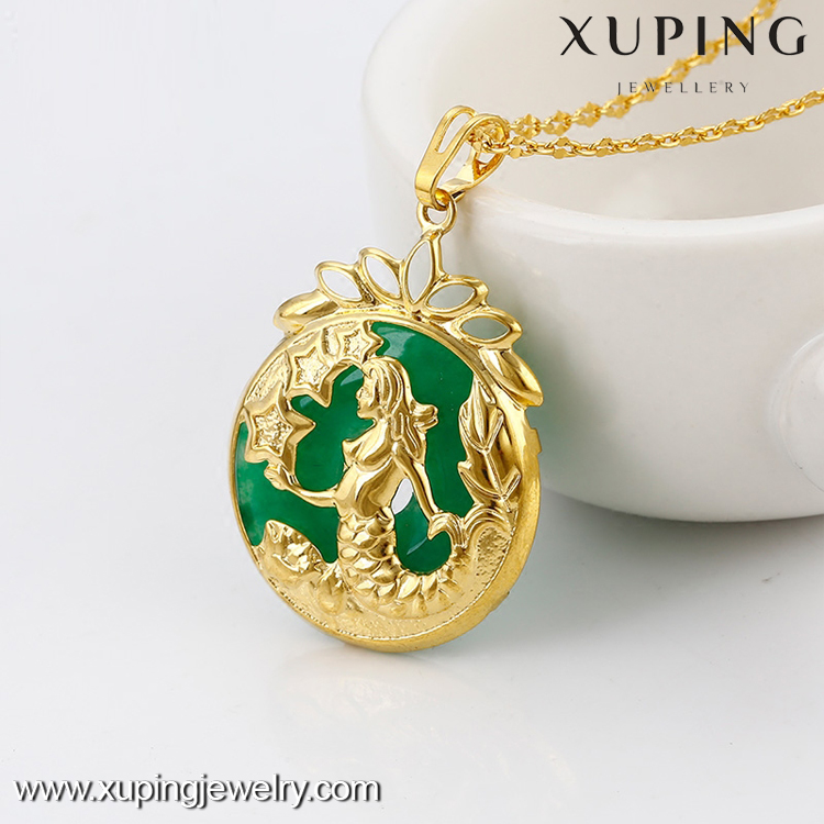 N6606006 xuping stone jewelry Mermaid princess design jade pendant necklace jewelries