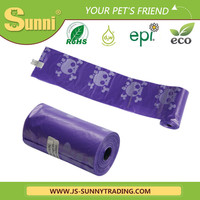 Customized colors purple biodegradable dog waste bags