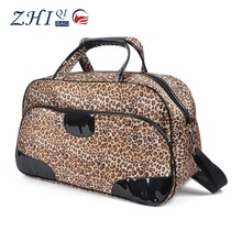 2015 New trendy satin lepoard print ladies overnight travel bag with shoulder strap for weekender