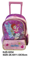 2015 new design polyester kids trolley school bag with wheels
