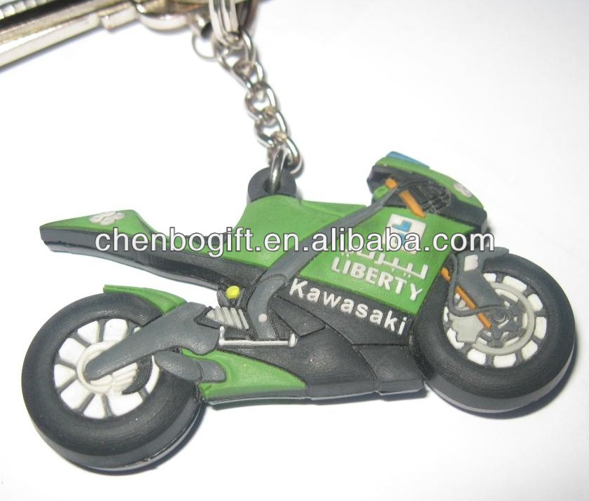 Custom 3d motorcycle keychain / good quality rubber pvc key chain