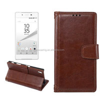 Leather joint wallet cover case for Sony-Ericsson Z5