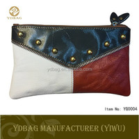 Women hand purse Patchwork Color genuine leather wallet
