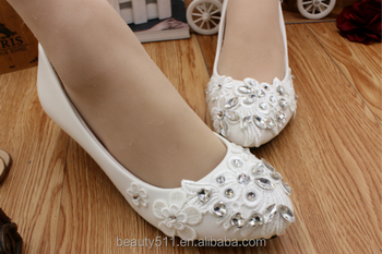 White and low wedding bridesmaid dresses shoes with a soft wedding dress shoes WS019