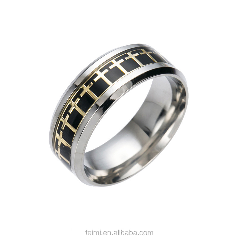 ZSTEIMI Wholesale Jewelry European Fashion Simple Male Christian Catholic Religious Gold Cross <strong>Ring</strong> Designs For Men