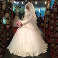 Long Sleeve Muslim Wedding Dress With Hijab Long Sleeves Elegant High Neck Ball Gown Lace Applique Arabic Bridal Gown LW2206