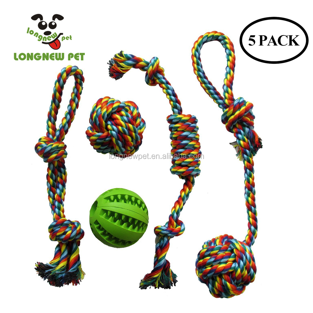 5 Pack Pet Dog Cotton Rope Toys and Rubber Chewing Ball Toys Bite Resistant and Teeth Cleaning Gift Set for Small Medium Dogs