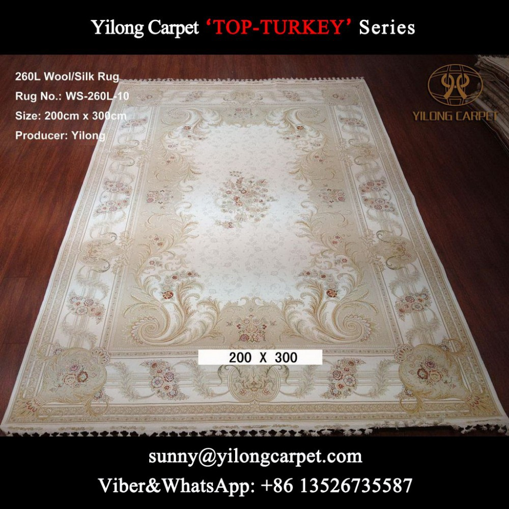 handmade wool/silk rug 200x300cm white and beige handknotted persian carpets and carpets