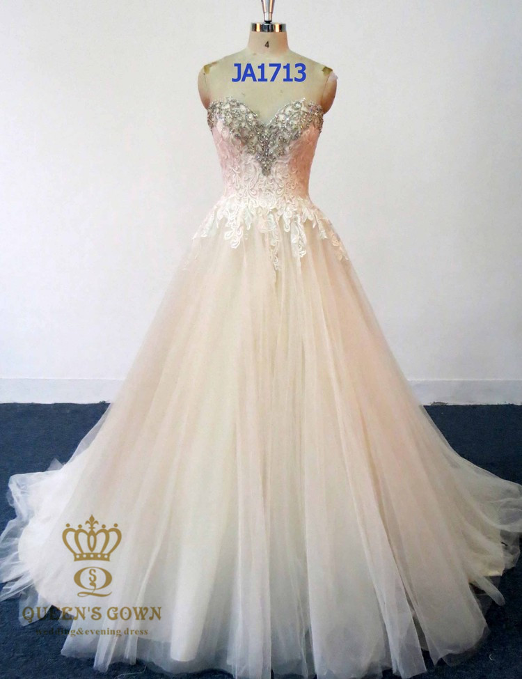 2018 new crystal beads wedding party dress A line sweetheart gowns wedding dress bridal