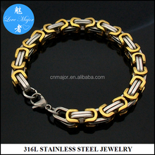 Gold Plated Two Tone Byzantine Chain Stainless Steel Bracelet Fashion Jewelry In Stock