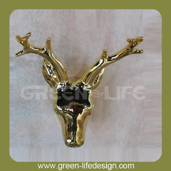 Gold plating ceramic deer head wall mount