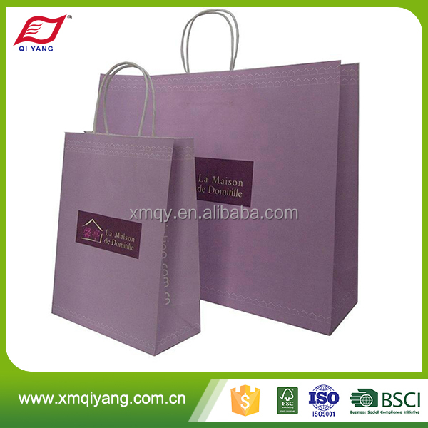 Factory direct machine made kraft paper bag with twisted handles
