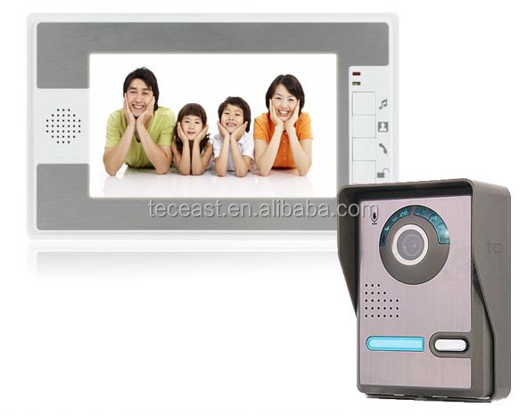 touch button 7'' wired color video door phone waterproof doorbell intercom system TEC712FA11