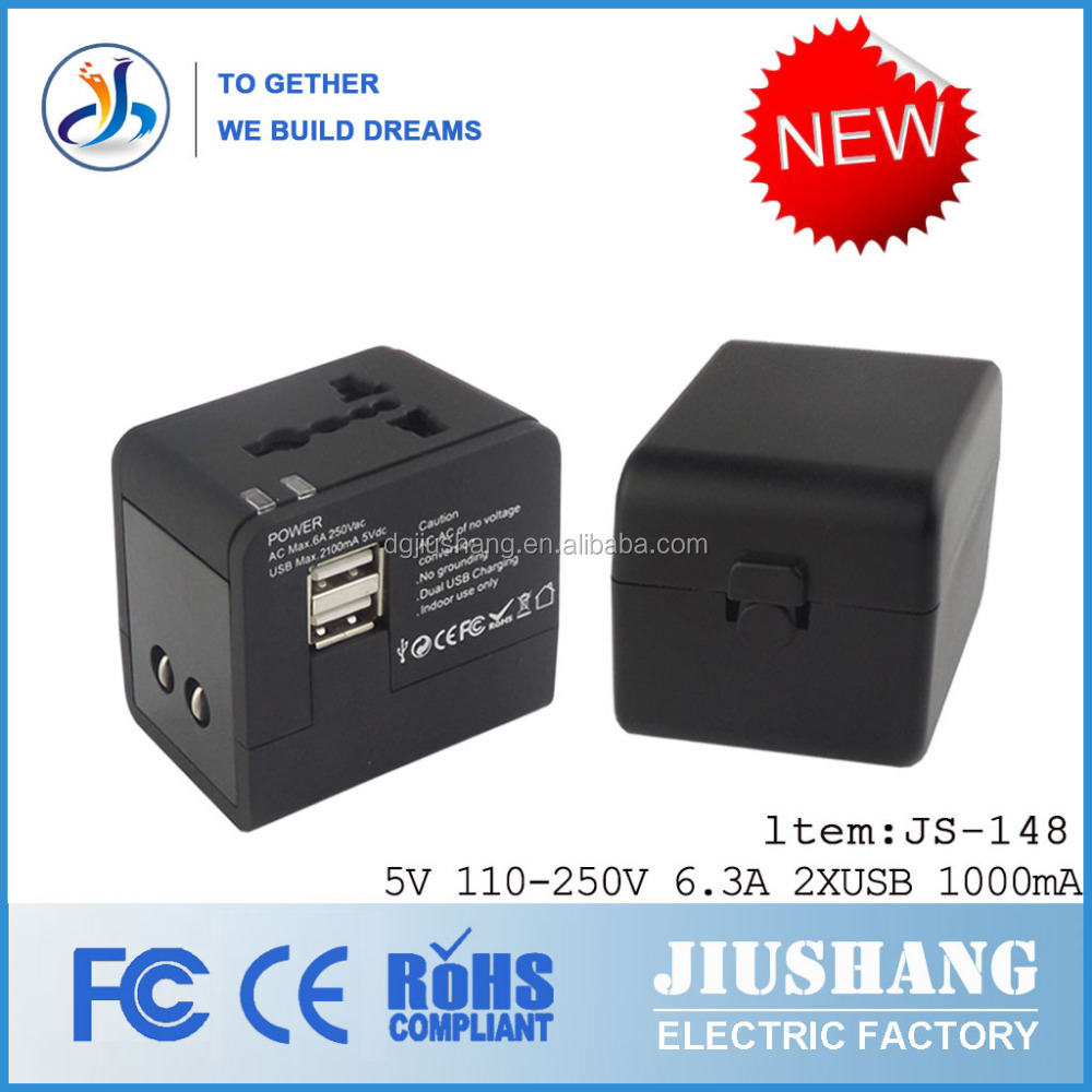 Factory provide 5V 2.1A USB mutil travel adapter