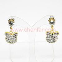 Newest Silver Plated Crystal Dangle Pendant Stud Earring