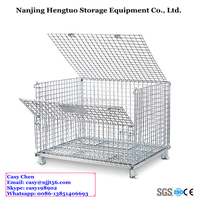 Hengtuo Storage With Top Cover Heavy Duty Stacking Wire Mesh Cage