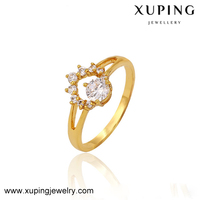 13314 xuping 24K Gold Princess Cut engagement ring diamond jewellery