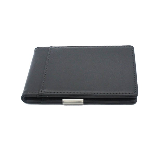 MW-60311B yiwu bag factory pu leather front pocket wallet card holder with metal clip