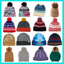 High Quality Women 100% Acrylic Knitted Winter Hats Customized Made knitted hat with fur pompoms