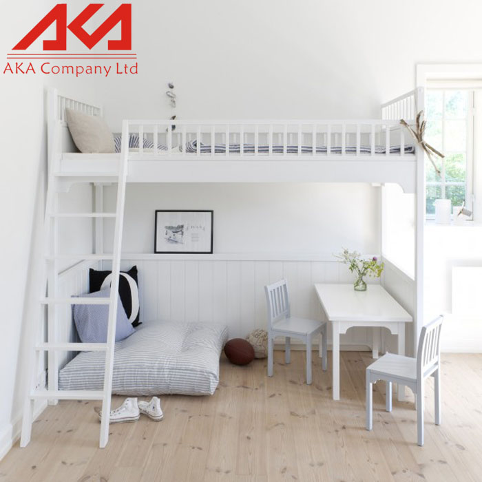 Sepember hot selling double-decker kids furniture white wood bunk bed
