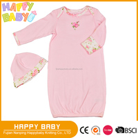 100% cotton Interlock Two pcs with Hat Infant Toddler Baby Girl's One-pcs Sleeping Dress