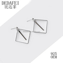 Fashion contracted 925 sterling silver geometry character stud earrings earrings