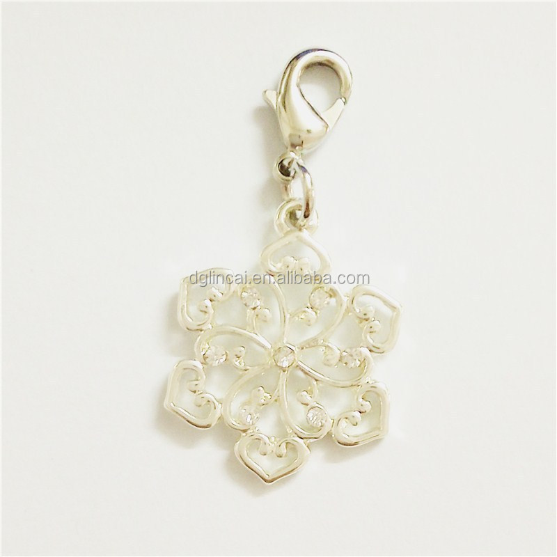Crystal flower dangle charms