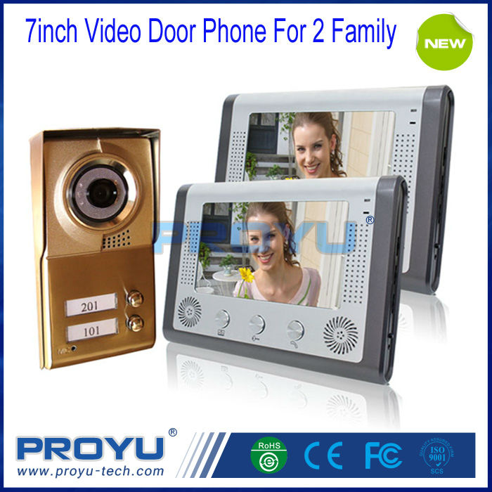 100% Brand New Aluminum Alloy 7Inch Video Door Phone Intercom System Used for 2 Family Small Apartment PY-V801M12