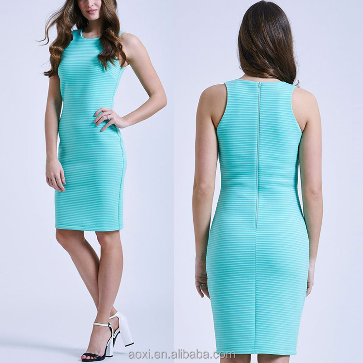 Nice dress factory 2016 latest new design classic style fit mint stripe bodycon dress women