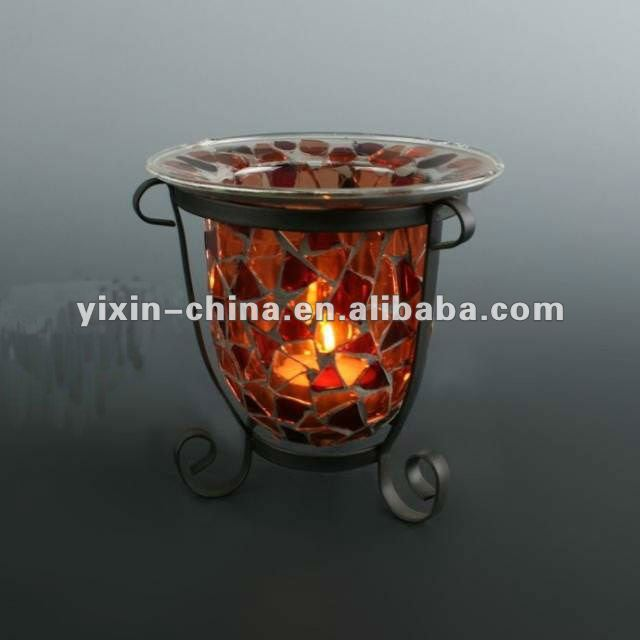 Handmade Mosaic Glass Tealight Candle Holder with Metal Rack