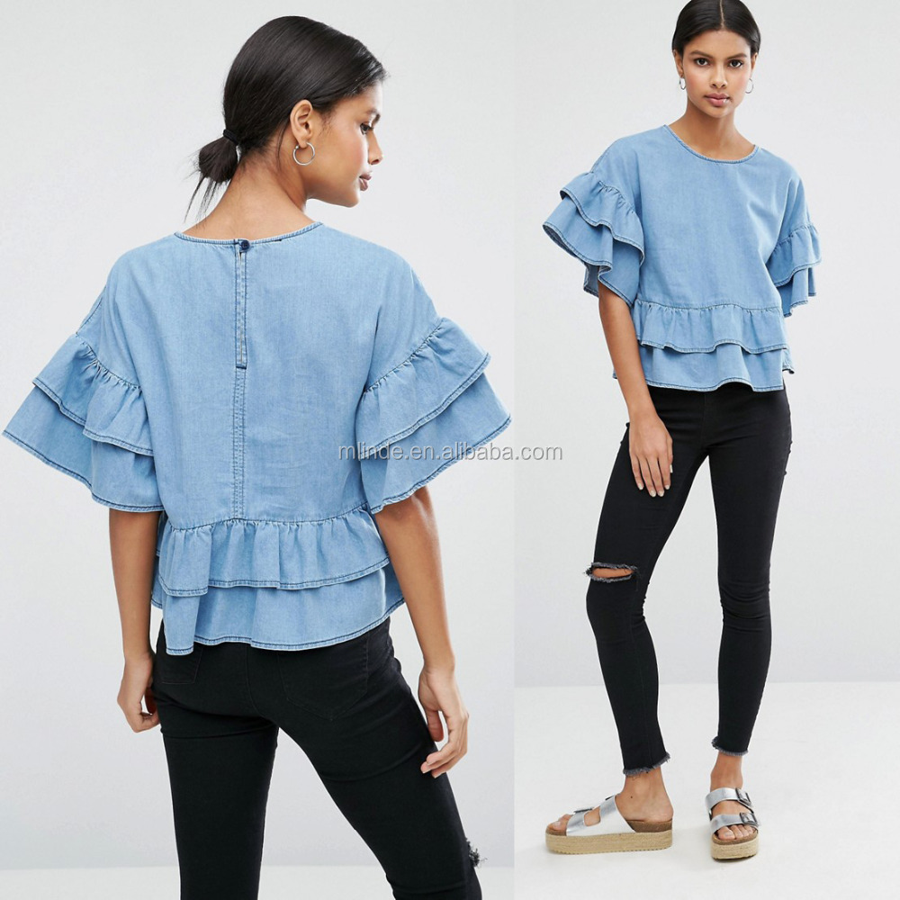 Wholesale Fat Fashion Women's Blouses Denim Tiered Tops Ruffle Puff Sleeve Loose Plus Size Round Neckline Fitted Tops