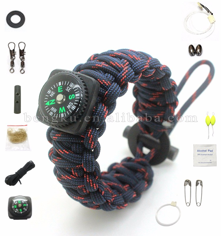 outdoor camping survival 550 hook paracord bracelet