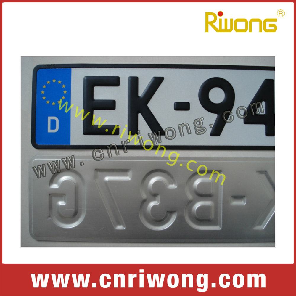 european car number plate with molds and ensure