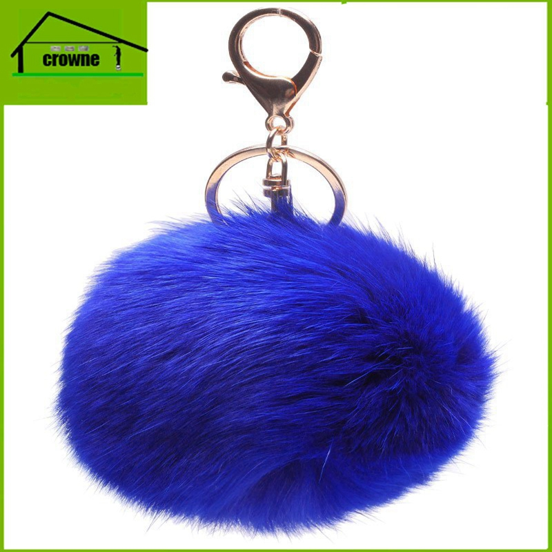 2017 news fancy cute cheap faux fox fur pom pom ball key chain / Small pom pom key chain / Animal pom pon