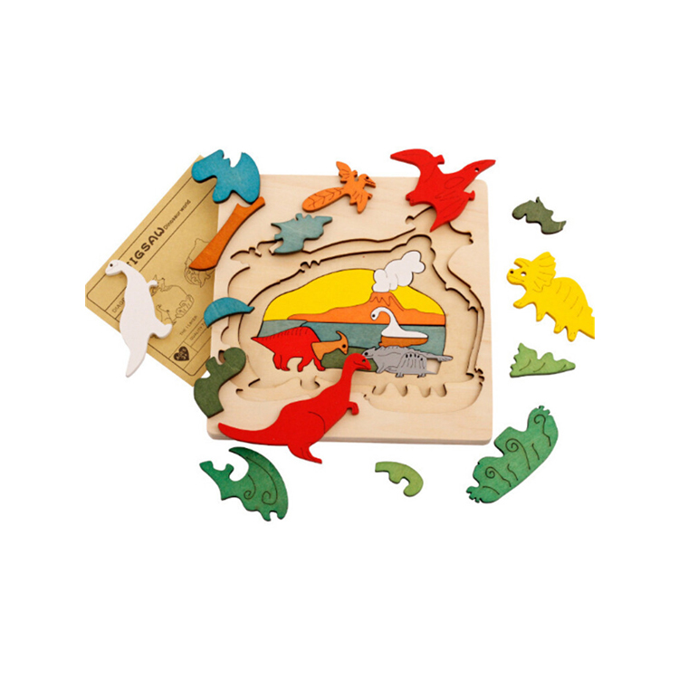 FQ brand new baby interesting animal 9 kinds of style 3 floor educational 3d wooden puzzle animals puzzle