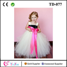 Ivory tulle Tutu Dress Kid dress with Customizable Hot pink Sash and Black Lined Bodice
