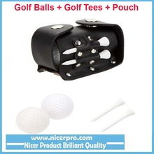 Mini Portable Golf Ball Leather Pouch bag+2 Ball +2Tees Golfer Club Practice Equipment